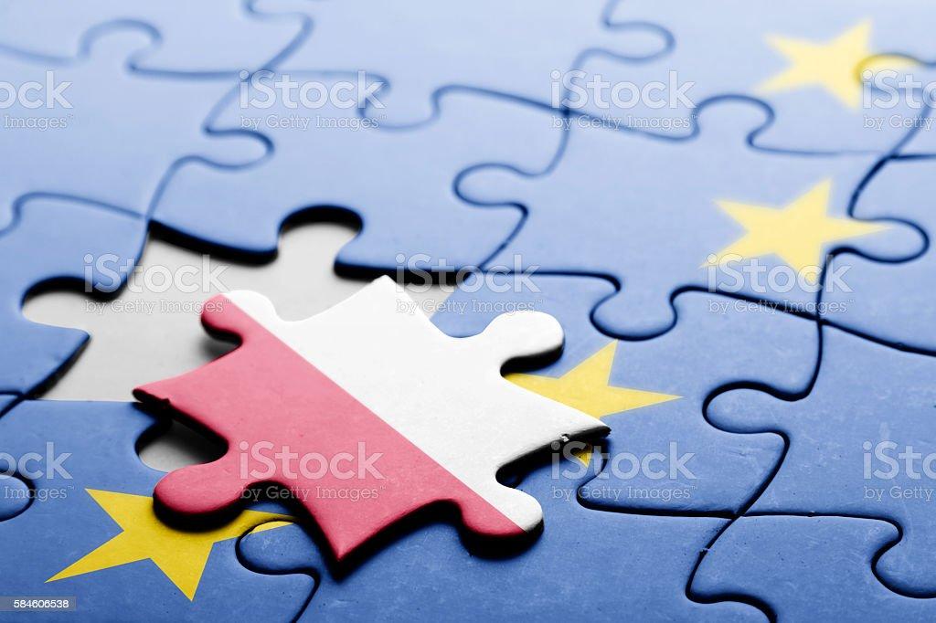 Poland. Exit from European Union concept puzzle stock photo