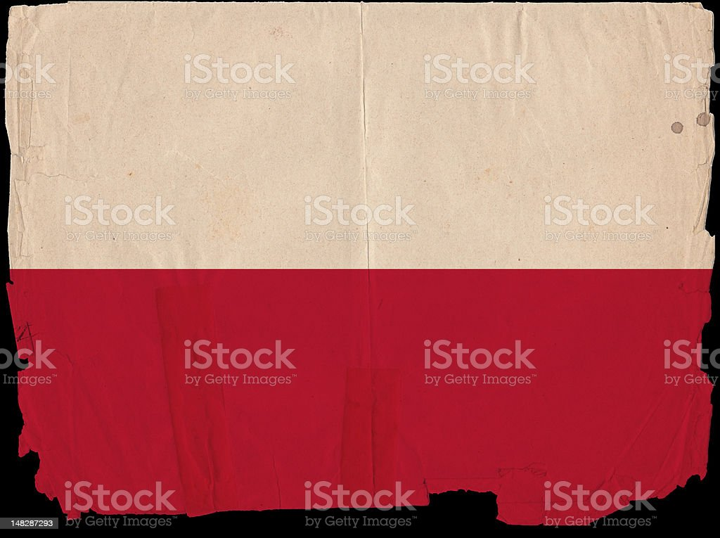 Poland Flag Grunge Old Vintage Damaged Paper stock photo