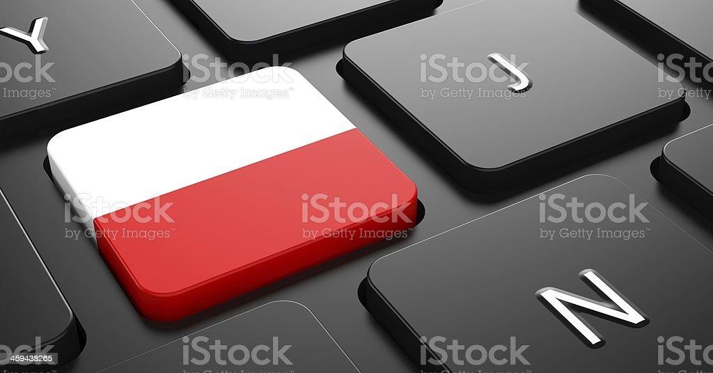Poland - Flag on Button of Black Keyboard. stock photo
