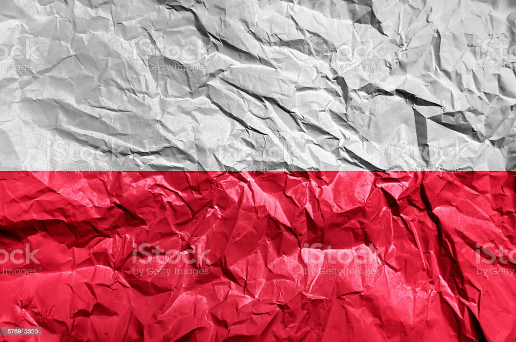 Poland flag painted on crumpled paper background stock photo