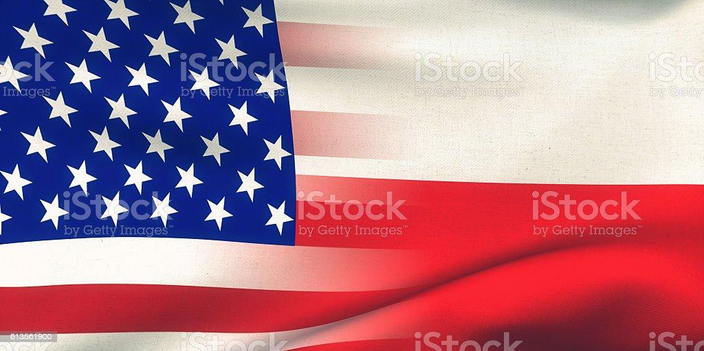 USA Poland Flag stock photo