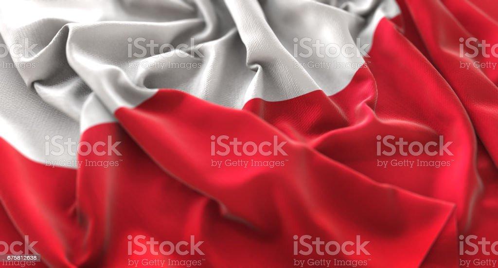 Poland Flag Ruffled Beautifully Waving Macro Close-Up Shot stock photo