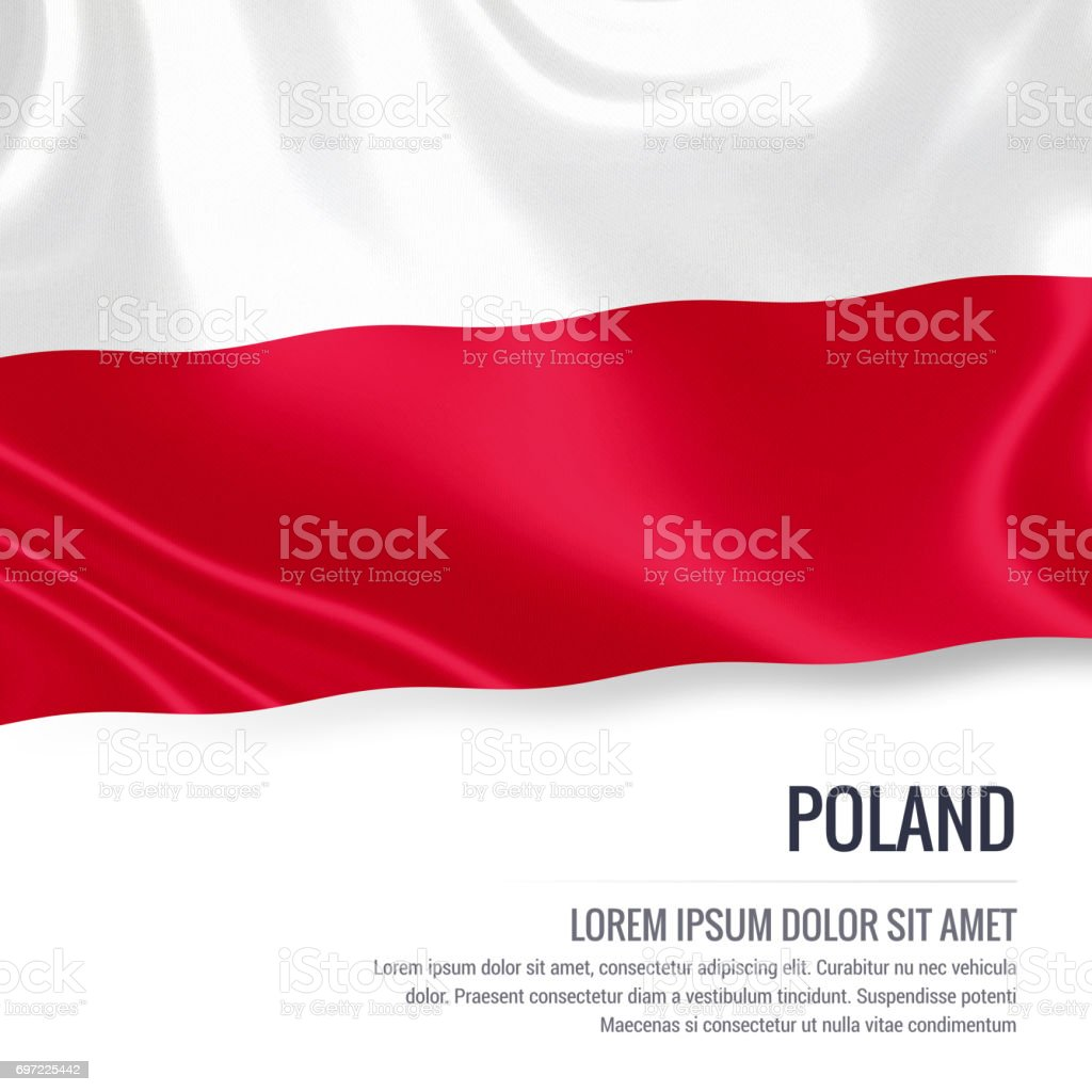 Poland flag. Silky flag of Poland waving on an isolated white background with the white text area for your advert message. 3D rendering. stock photo