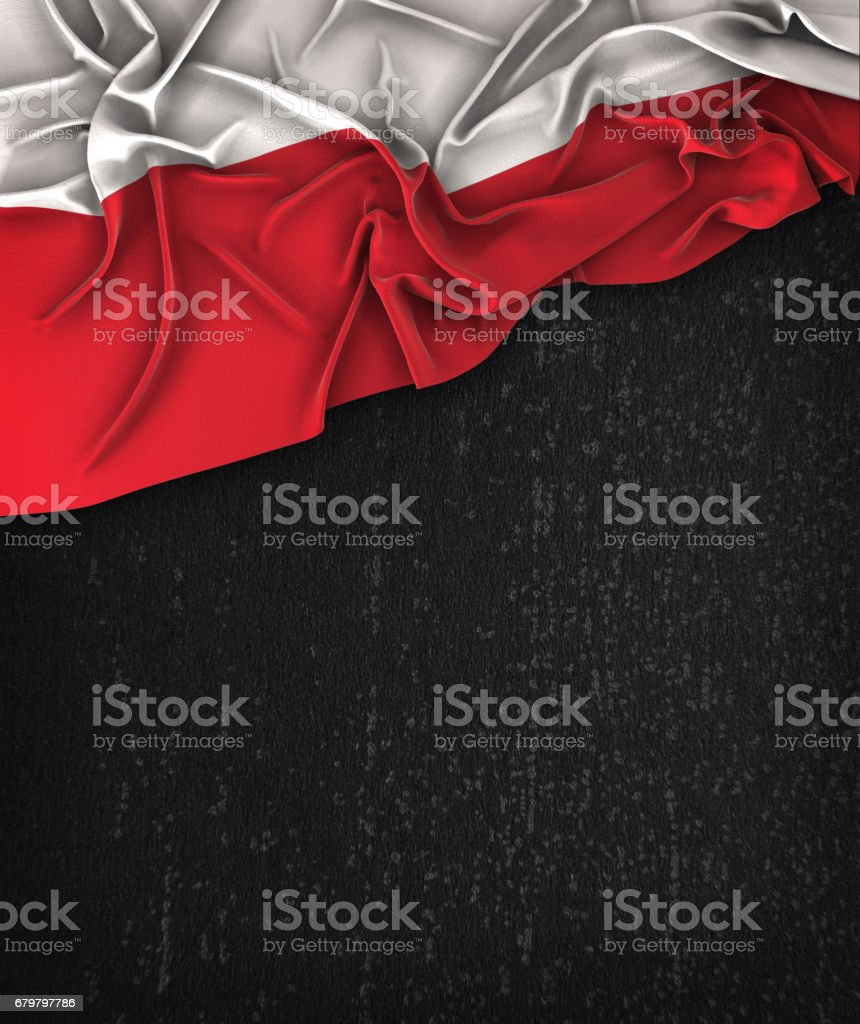 Poland Flag Vintage on a Grunge Black Chalkboard With Space For Text stock photo