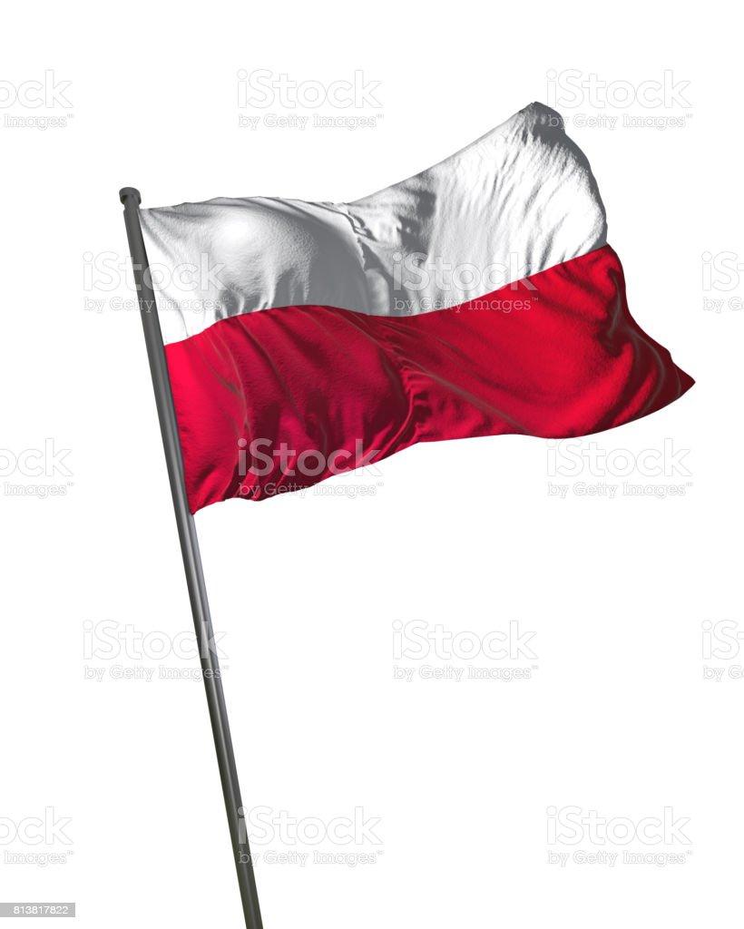 Poland Flag Waving Isolated on White Background Portrait stock photo