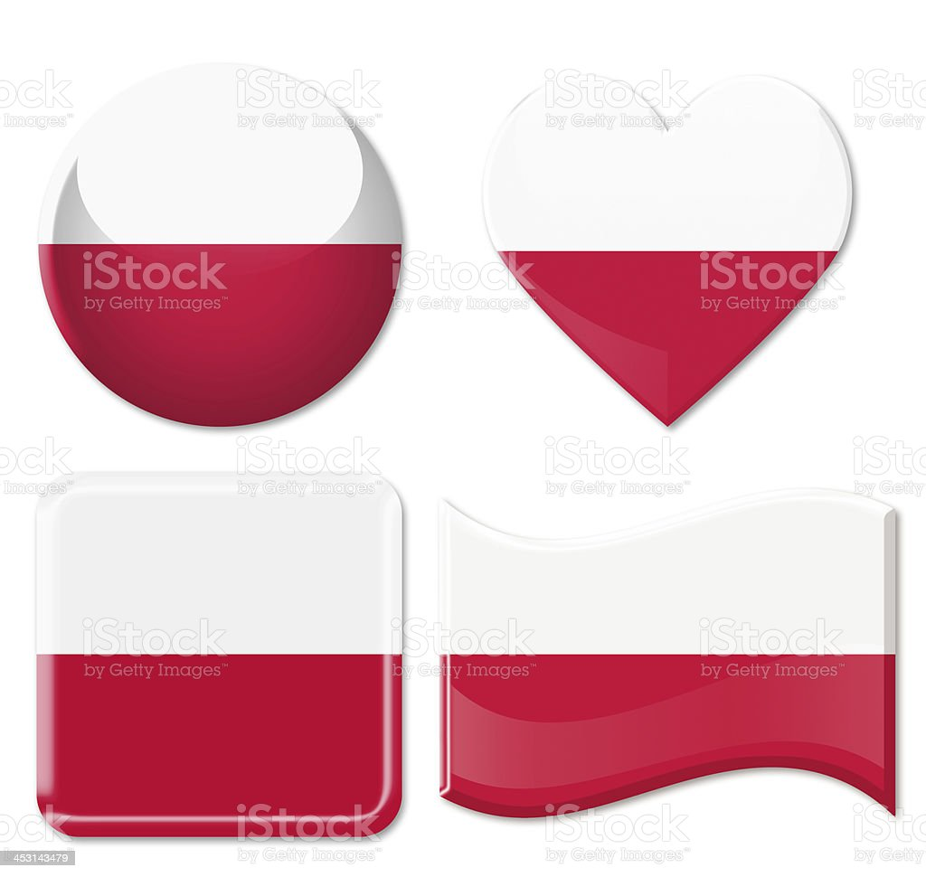 Poland Flags & Icon Set royalty-free stock photo