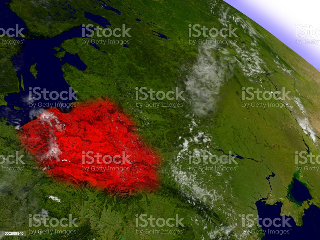 Poland from space highlighted in red stock photo