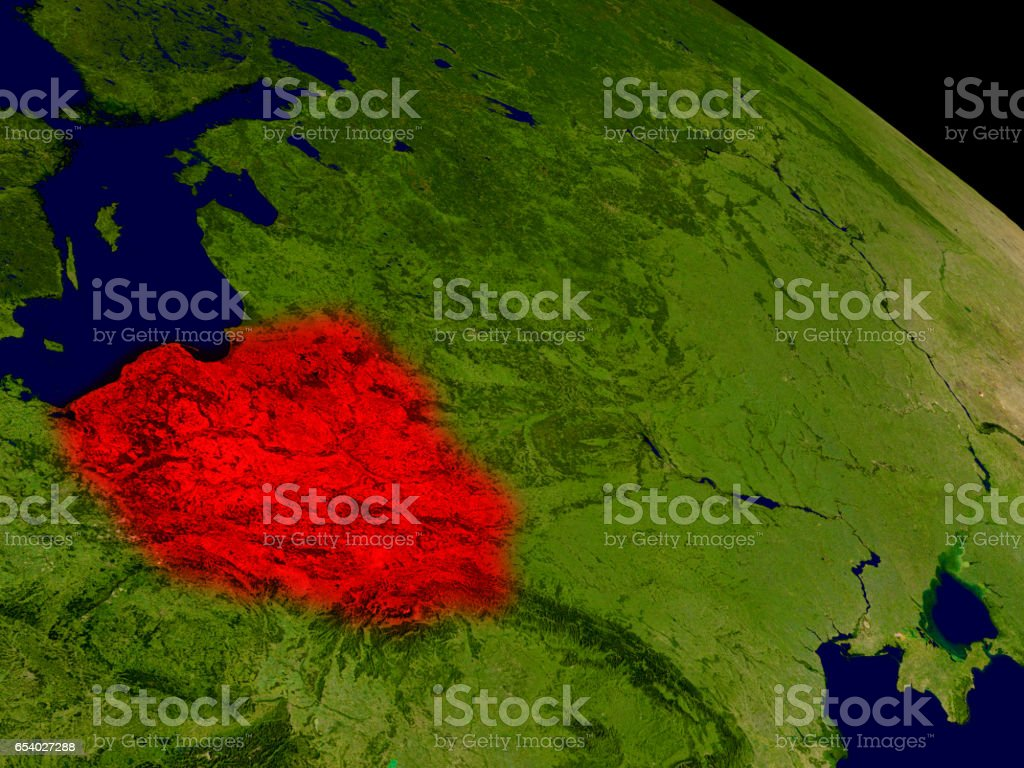 Poland from space stock photo