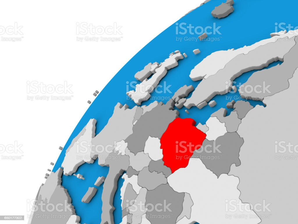 Poland on globe in red stock photo