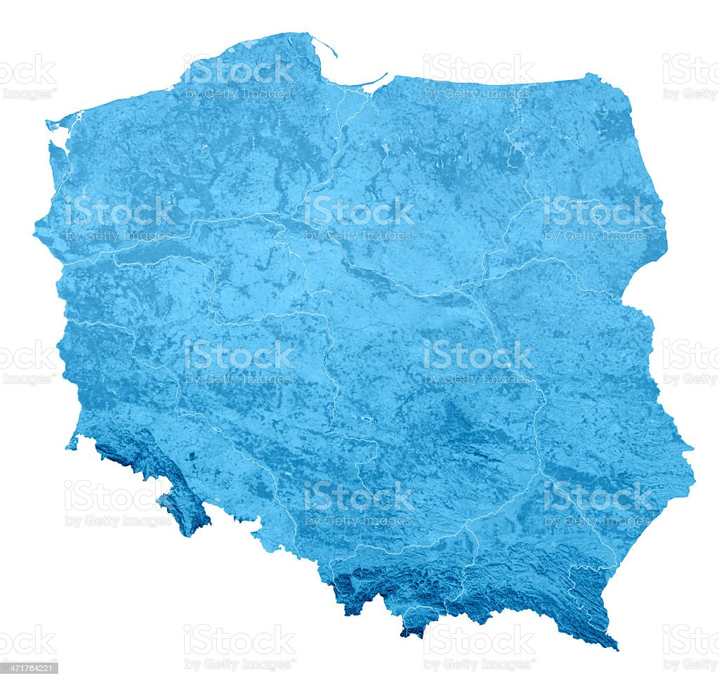 Poland Topographic Map Isolated royalty-free stock photo