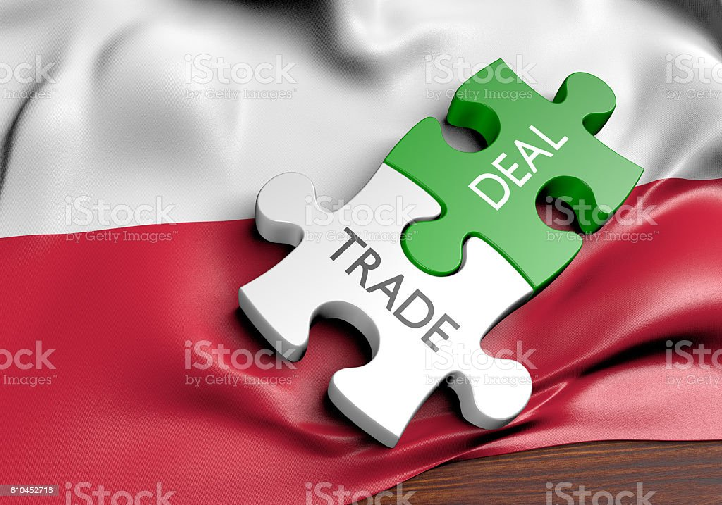 Poland trade deals and international commerce concept, 3D rendering stock photo