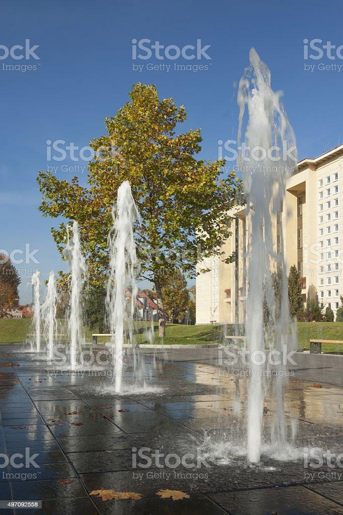 Poland, Upper Silesia, Gliwice, Fountain in Polytechnics Campus stock photo