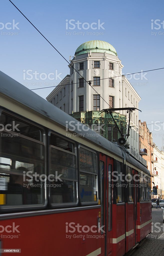 Poland, Upper Silesia, Zabrze, former Admiralpalast building, Passing Tram stock photo