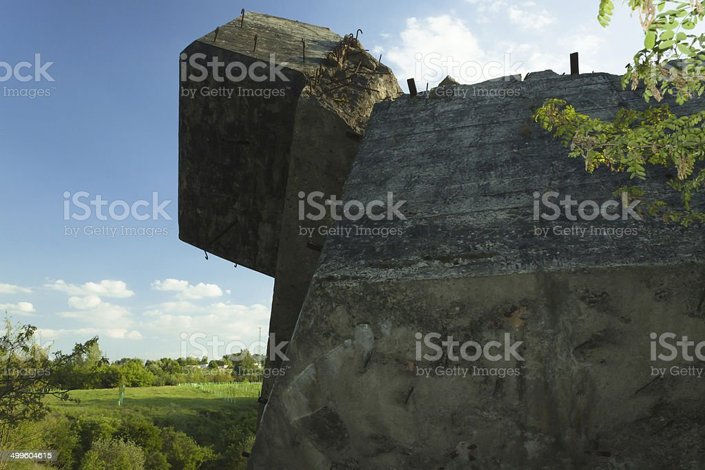 Poland, Zachodniopomorskie, Wa?cz, Destroyed Pommernstellung Bunker stock photo