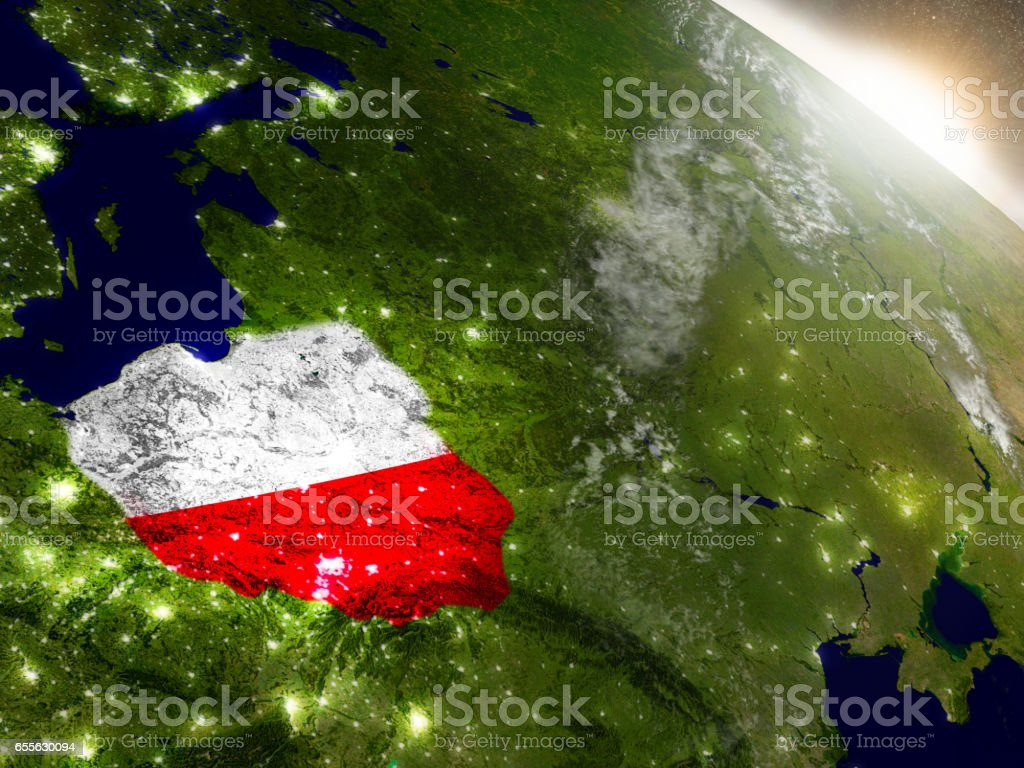 Poland with flag in rising sun stock photo