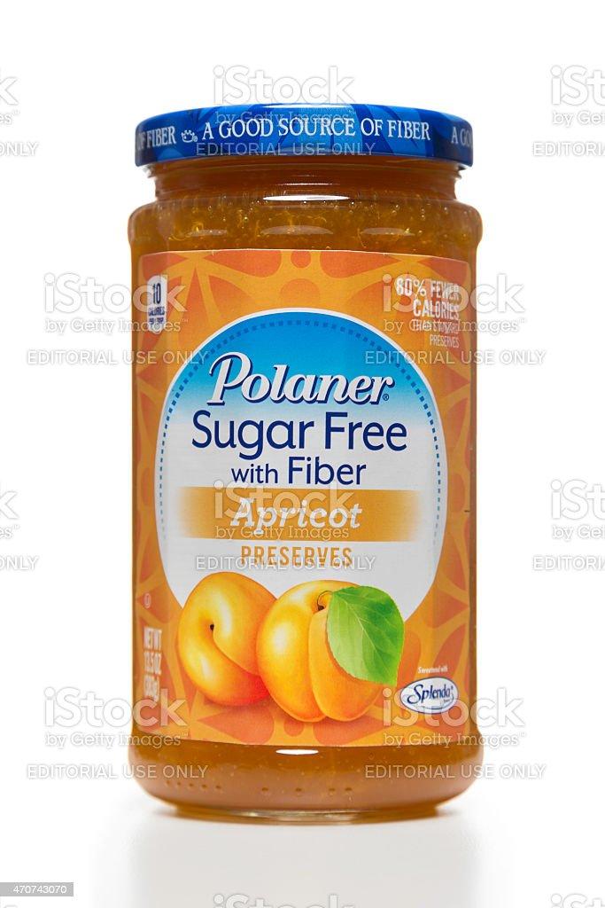 Polaner sugar free with fiber apricot preserves jar stock photo