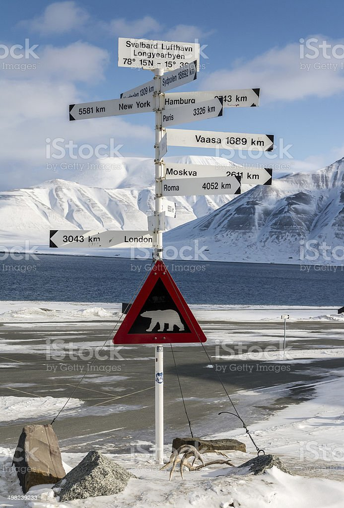 Polar bear  signpost at Svalbard with distances to European cities. stock photo