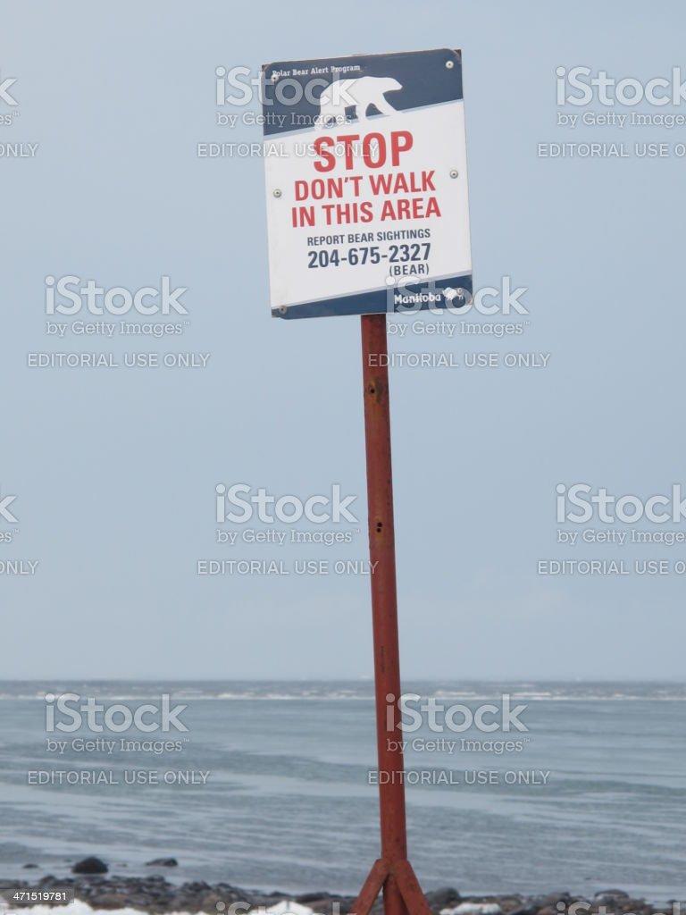 Polar Bear Warning Sign stock photo