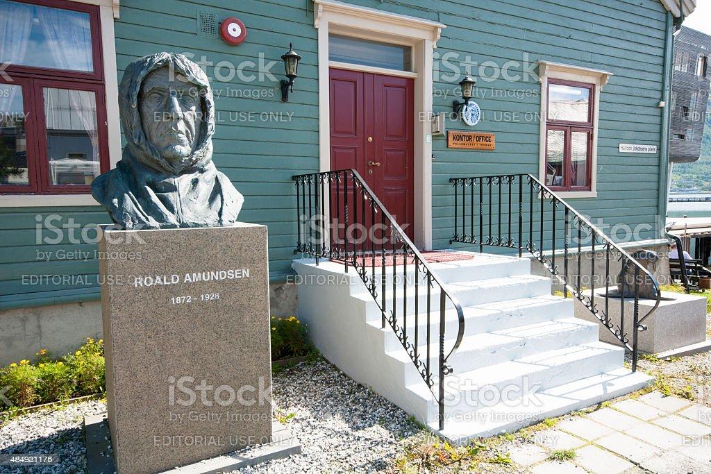 Polar museum inTromso Norway with bust of polar explorer Amundsen stock photo