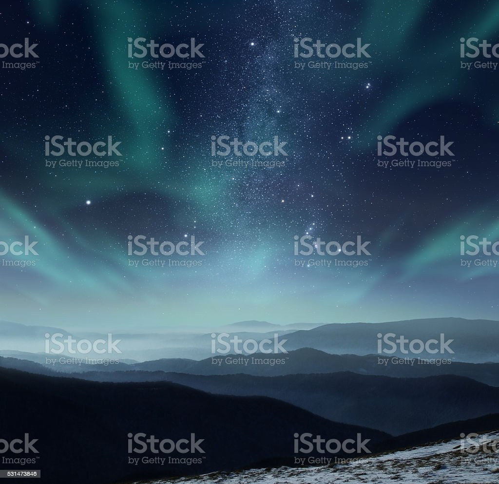 Polar night stock photo