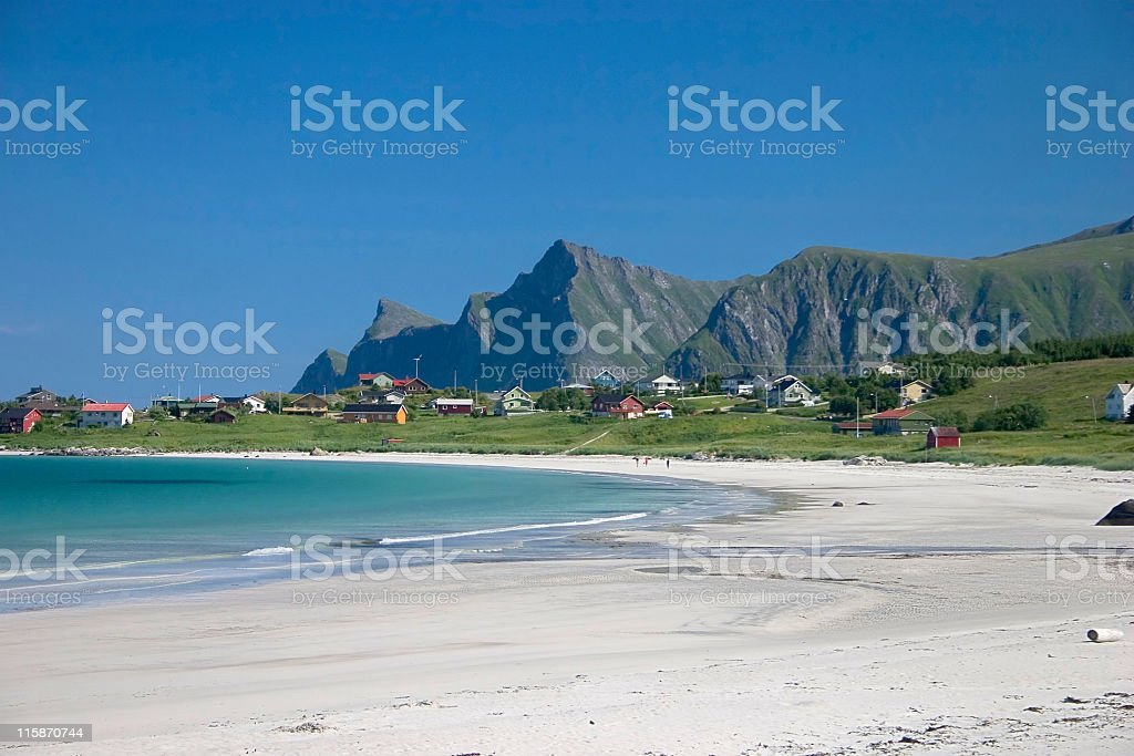 Polar white beach, blue ocean royalty-free stock photo