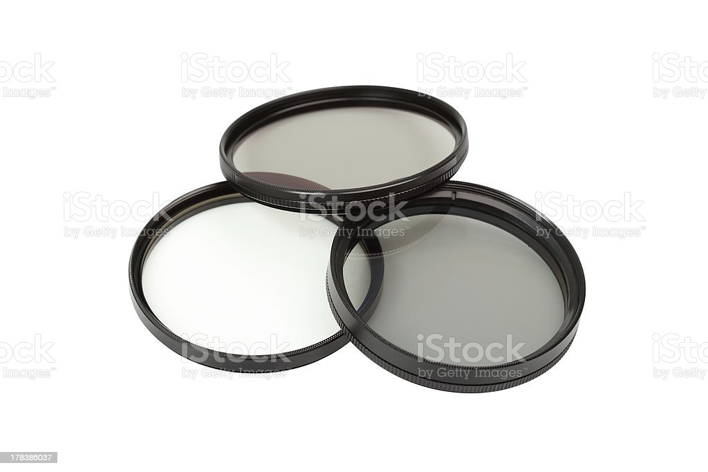 Polarizing and UV filters stock photo