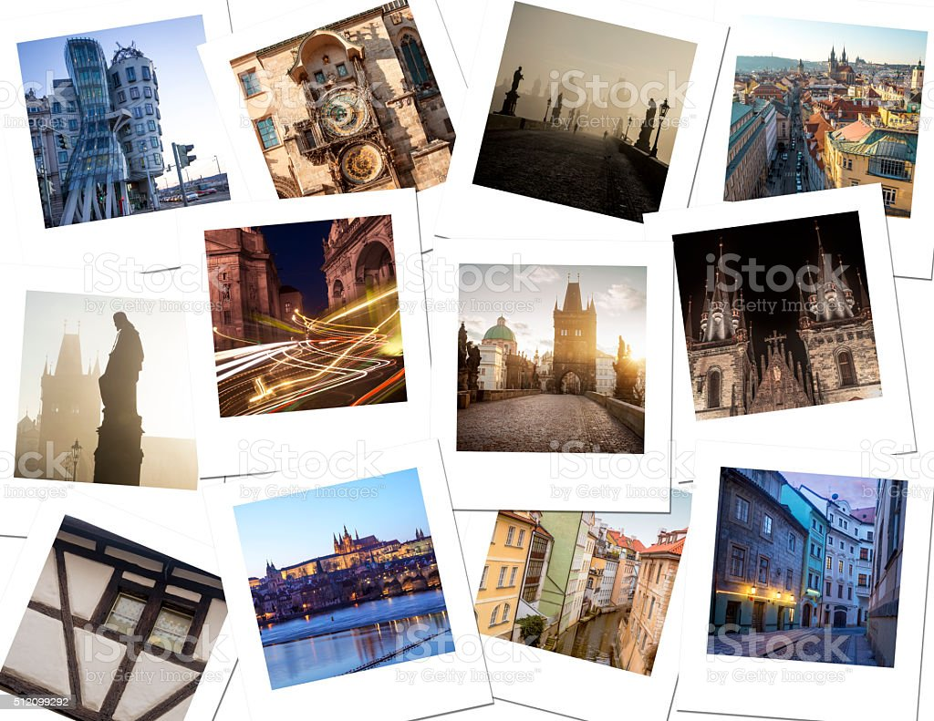 Polaroid photos souvenirs stock photo