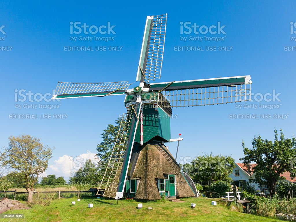 Polder mill in Tienhoven, Netherlands stock photo