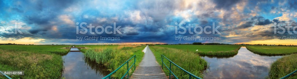 Polder panorama stock photo