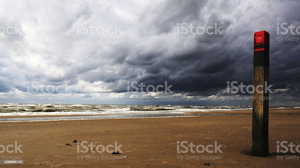 Pole at the Beach, Texel stock photo