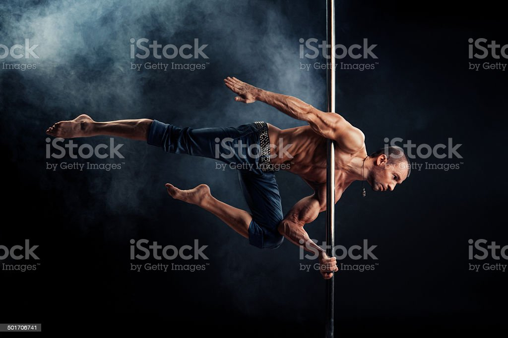 Pole Dance Male stock photo