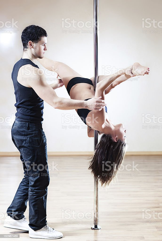 Pole dance trainer royalty-free stock photo