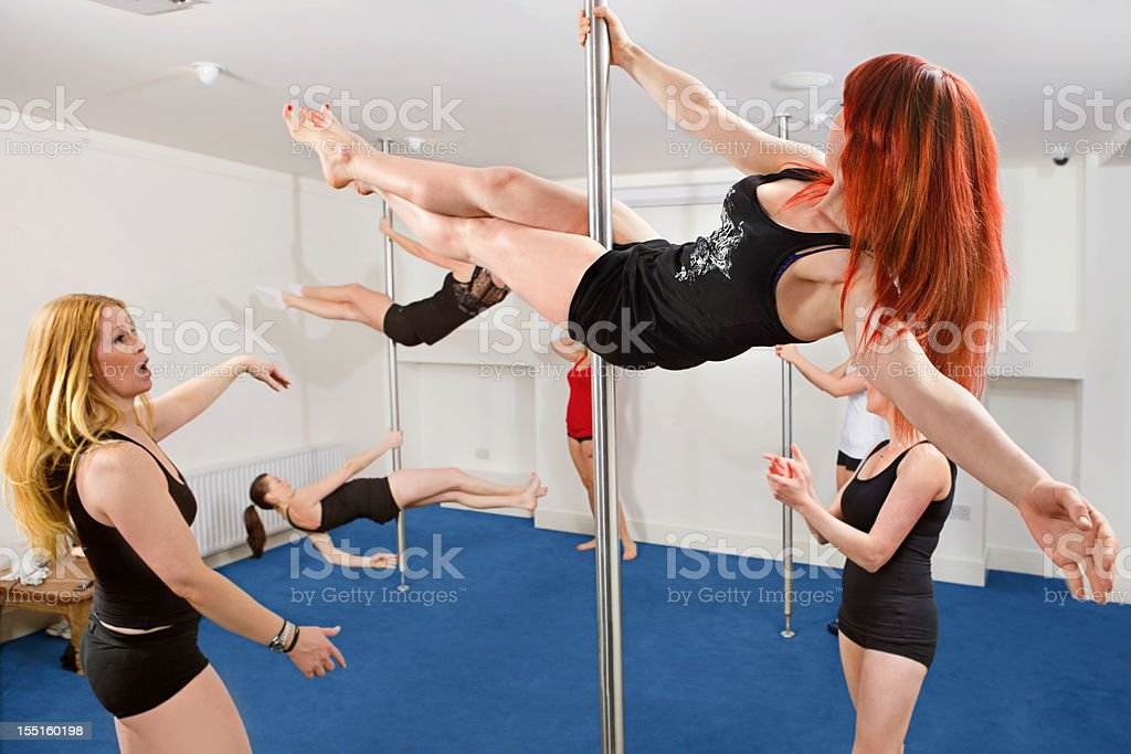 Pole fitness class royalty-free stock photo