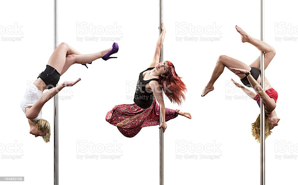 Pole fitness dancers stock photo