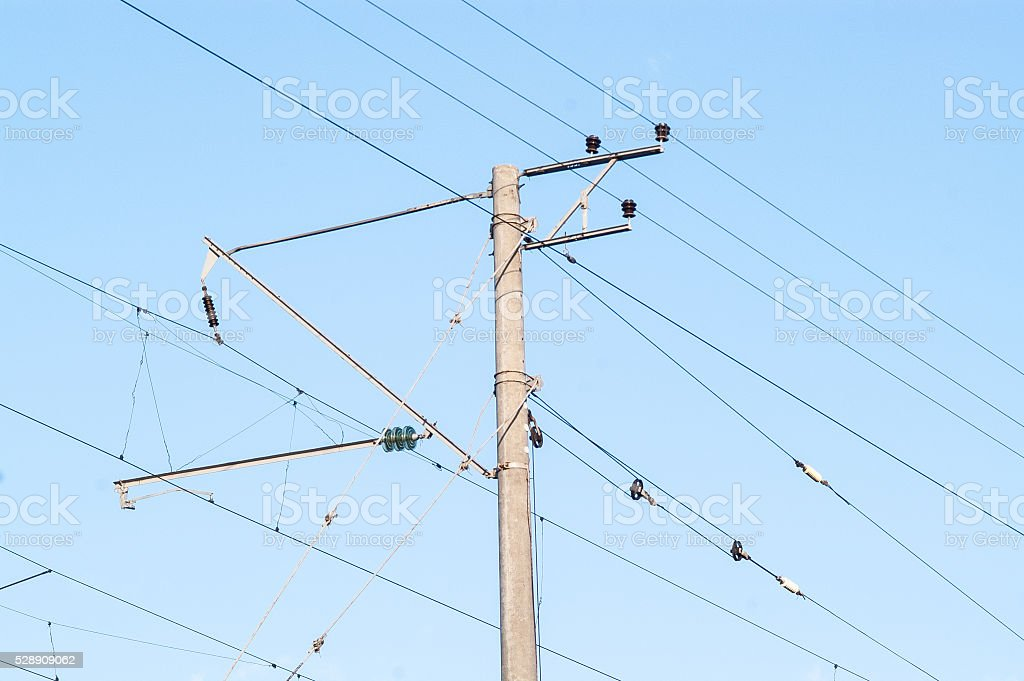 pole line high-voltage wire stock photo