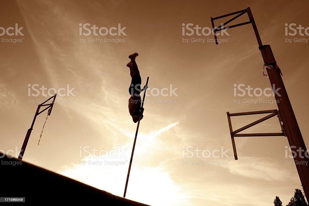 Pole Vault silhouette royalty-free stock photo