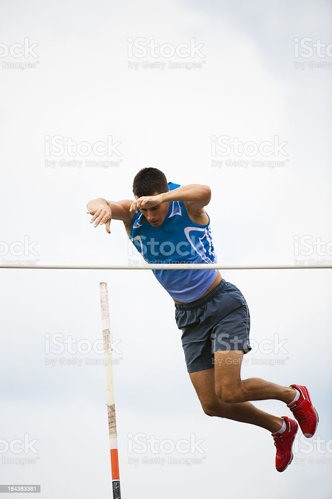 Pole Vault successful attemp stock photo