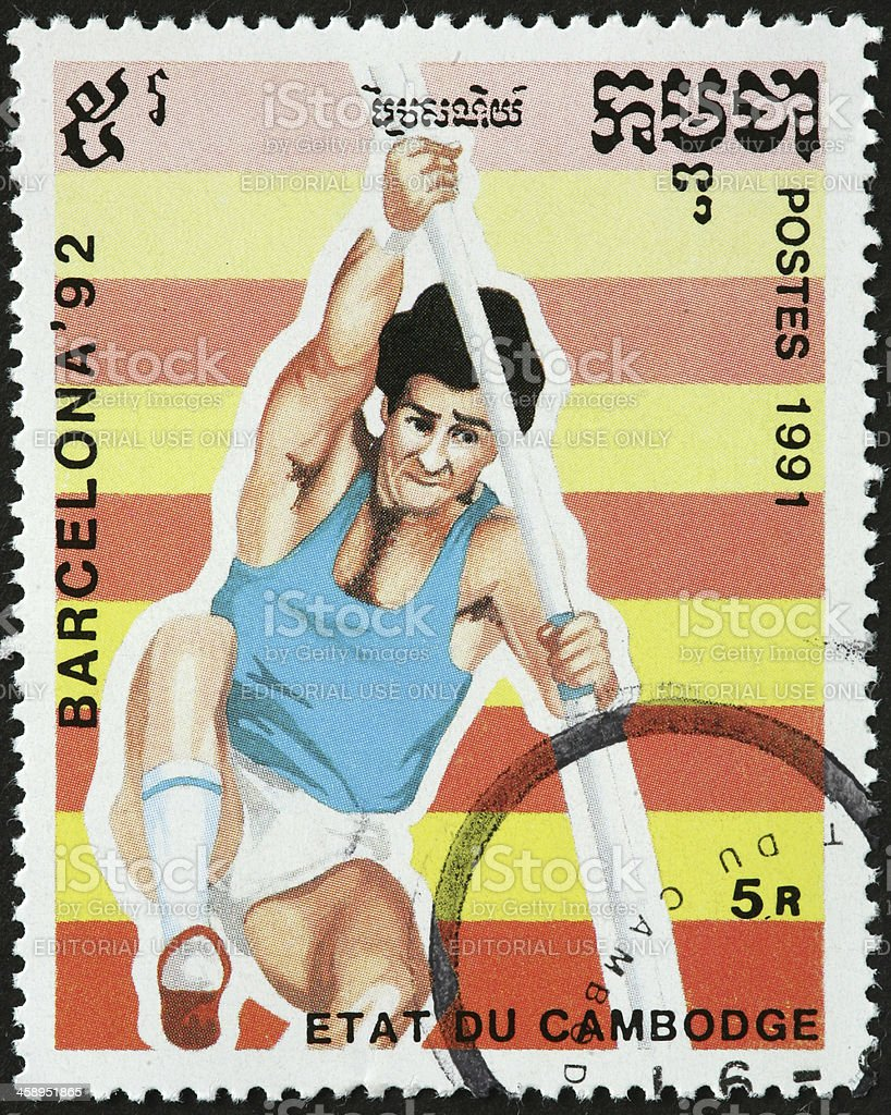 pole vaulter, Barcelona 1992 Olympics stock photo