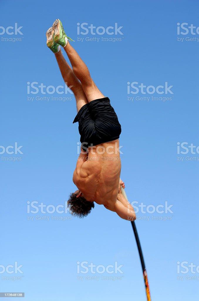 Pole Vaulter Soars royalty-free stock photo