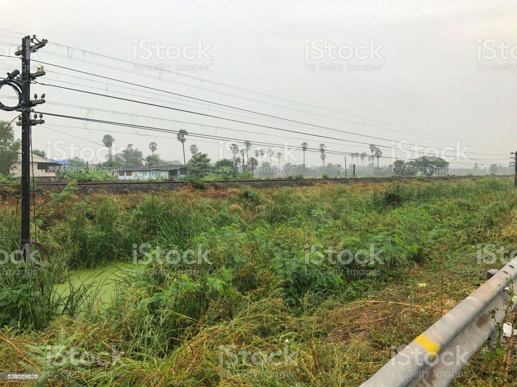 Pole wire near railroad stock photo