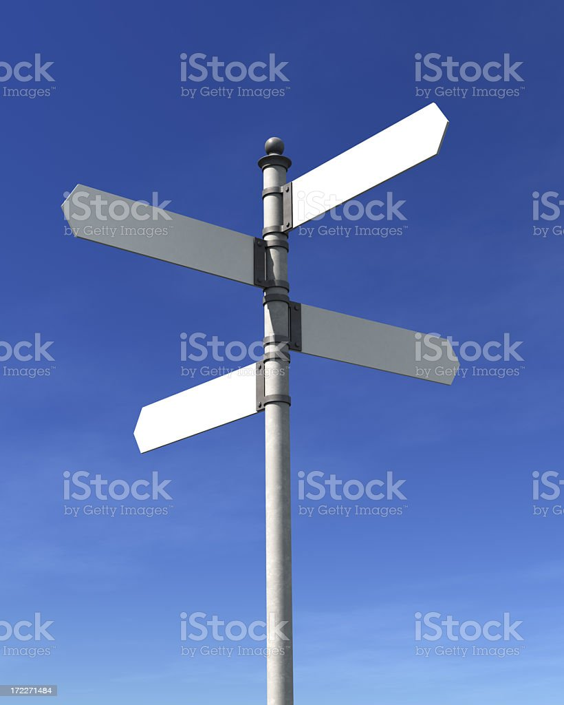 A pole with 4 blank street signs pointing at 4 directions stock photo