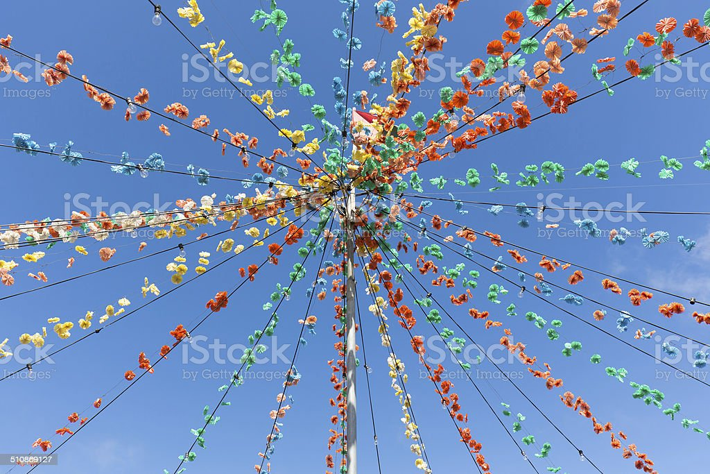 Pole with flower garland decoration at Madeira Island stock photo