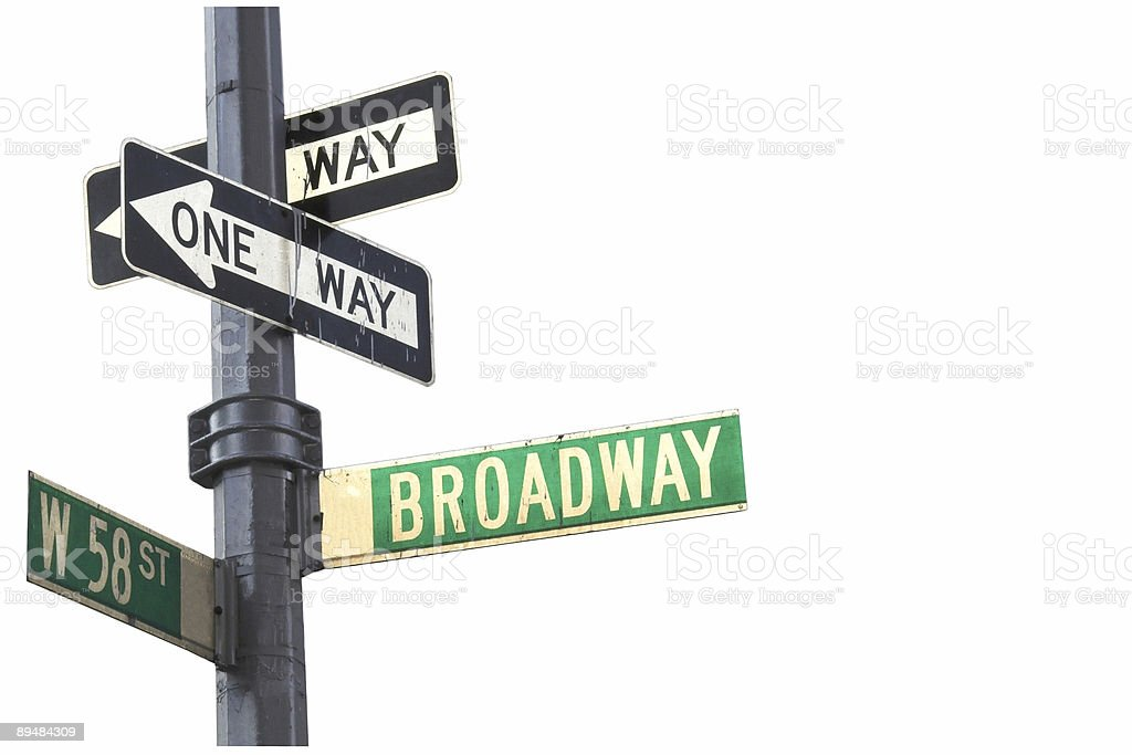 Pole with street signs to Broadway stock photo