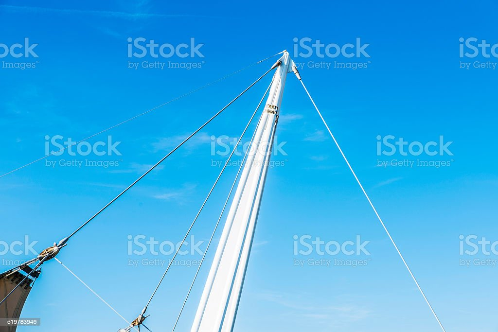 Pole with tensioners of a tent stock photo