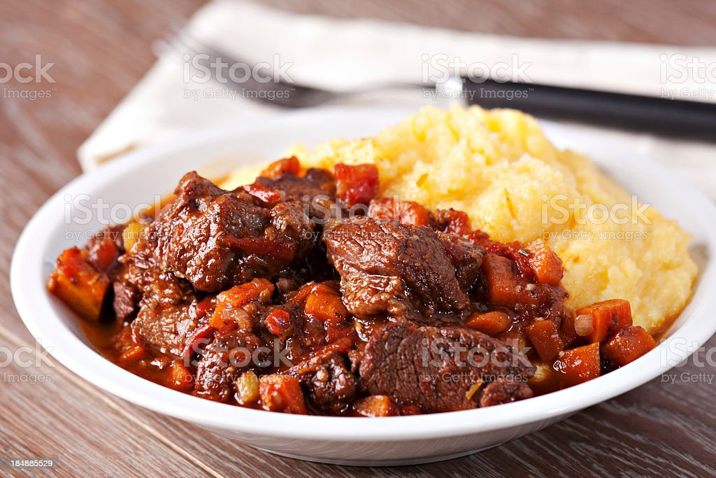 Polenta and stew stock photo