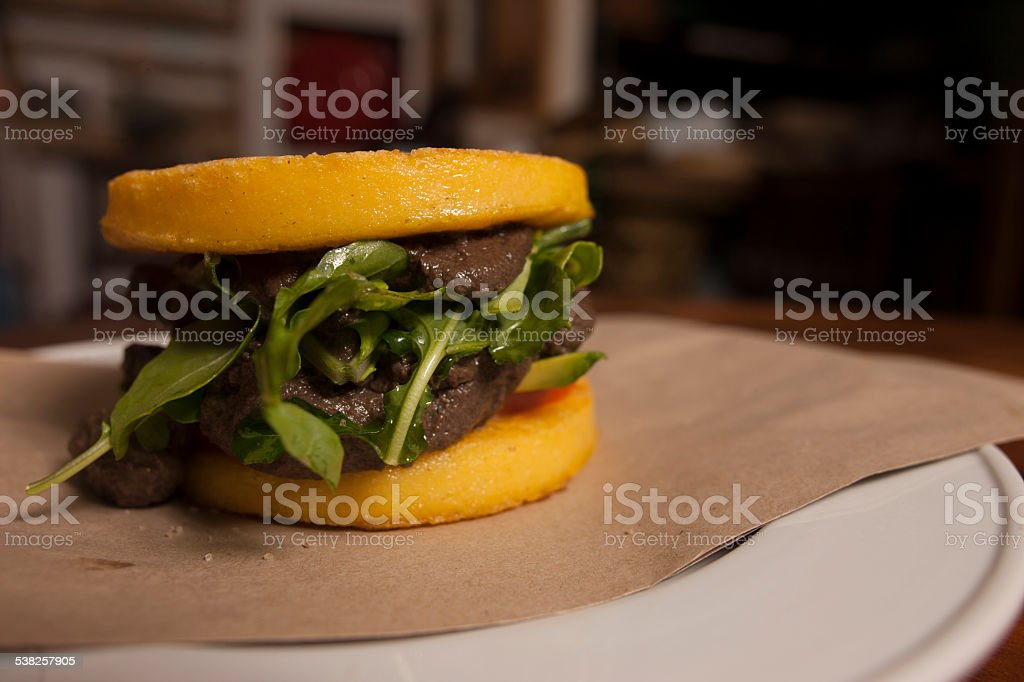 Polenta Burger stock photo