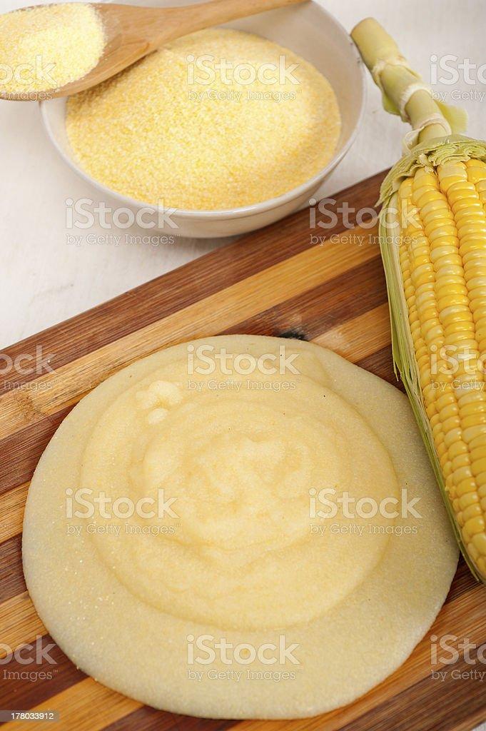 polenta corn maize flour cream stock photo