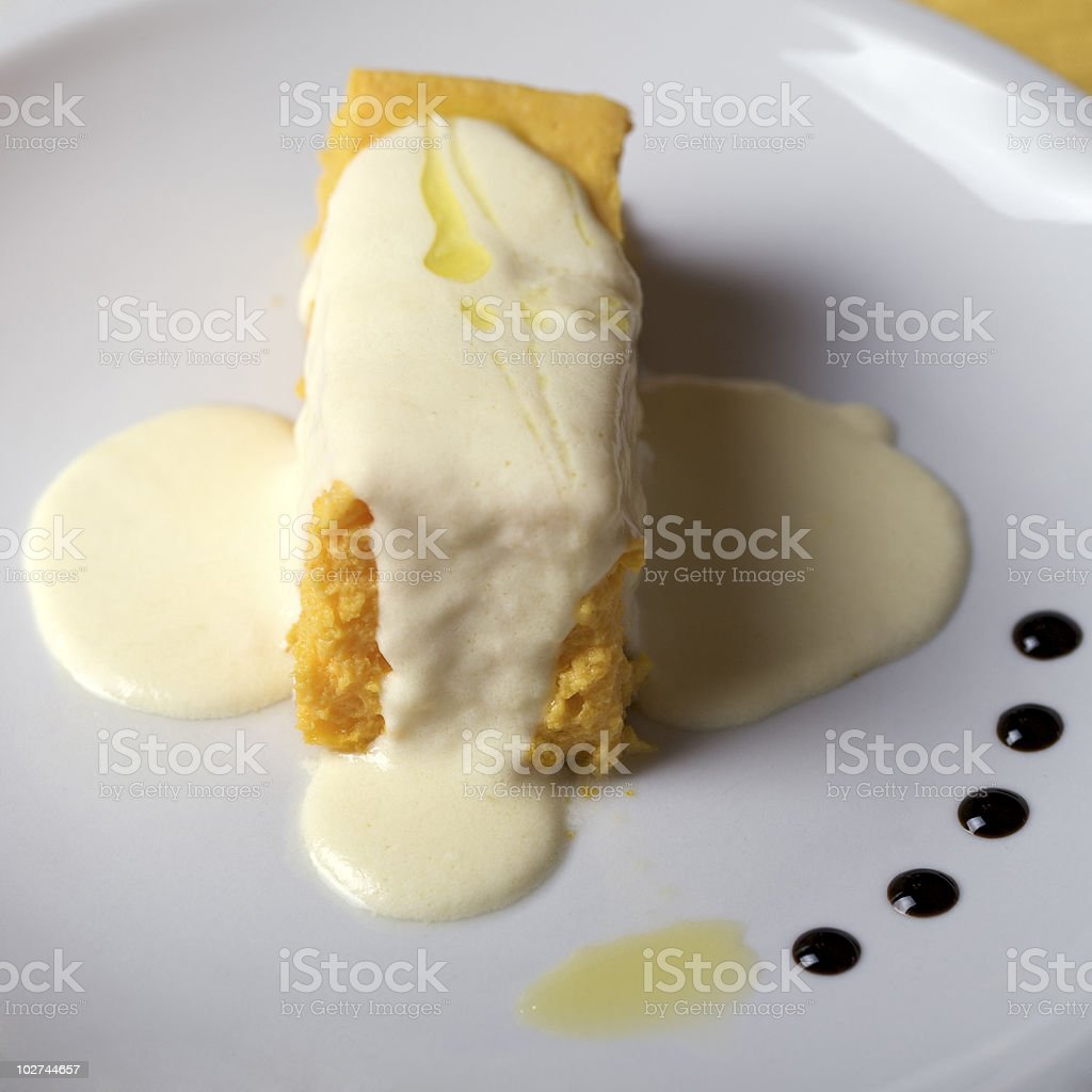 polenta with melted cheese royalty-free stock photo