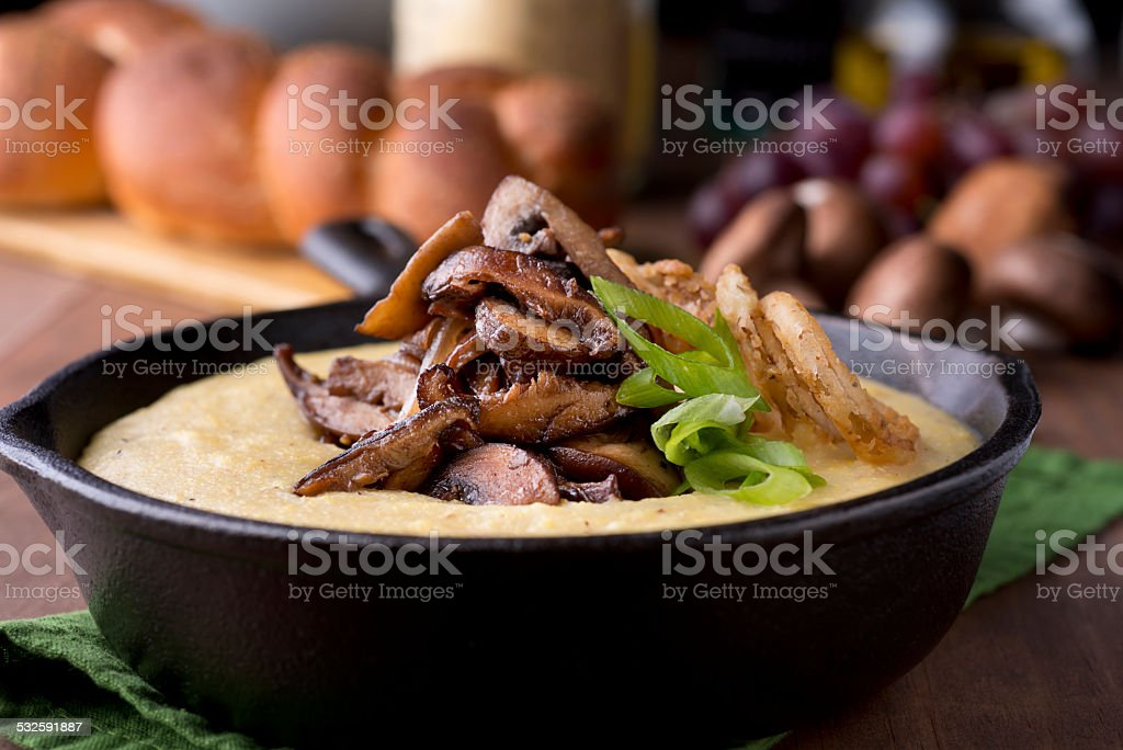 Polenta With Mushroom stock photo