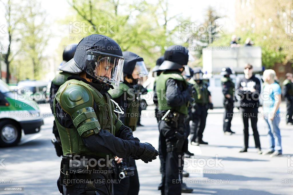 police action force at demonstration stock photo